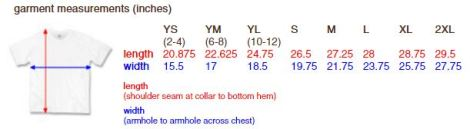 Tshirt Sizing Guide